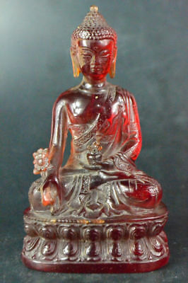 Collectible Old Lmitation Amber Handwork Carve Buddha Sit Lotus Statue