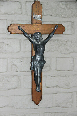 antique french religious metal and wood  crucifix