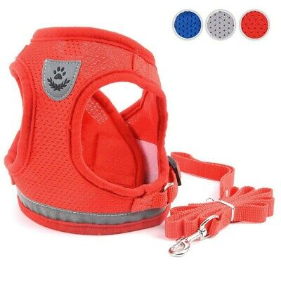 Breathable Small Dog Harness and Leash Set Cat Mesh Vest Soft Pet Chest Strap US