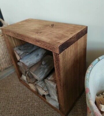 Handmade Rustic Side Coffee Cube Table Solid Wood Industrial Scaffold Reclaimed