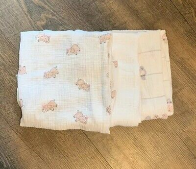 3 Aden+ Anais Muslin Swaddle Blankets Baby Girl infant Swaddle- very gently used
