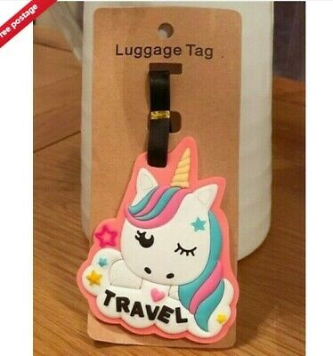 Silicone Cute Luggage Baggage Travel Tags Labels Address Suitcase Unicorn Pink