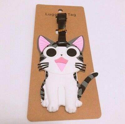 Silicone Cute Luggage Baggage Travel Tags Labels Address Suitcase Cat Kitten