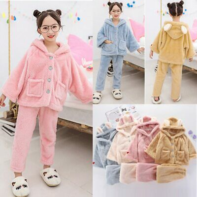Kids Girls Dressing Gown Hooded Pyjamas Fleece Sleepwear Bath Robe Nightwear Set