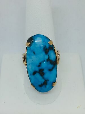 14k Solid Yellow Gold Persian Turquoise Ring Size 9.75