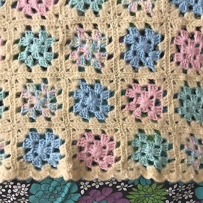 Hand Knit Pastel Granny Square Baby Blanket Afghan Throw, Soft Cozy Acrylic Yarn
