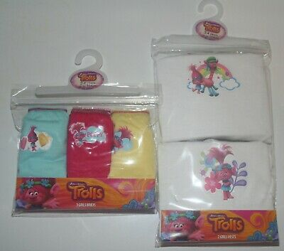 Girls TROLLS 100% Cotton NEW Briefs/Knickers & Vests Set Sizes 2-8 Years