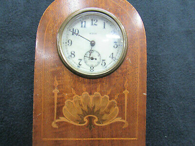 Antique Sessions Art Nouveau Small Inlaid  Wood Clock--not working