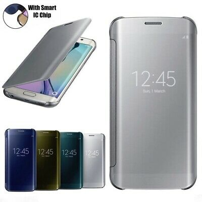 Case For Samsung Galaxy S7 S8 S9 S9+ Smart View Mirror Leather Flip Stand Cover