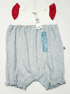 Baby Girl Gap Cotton Playsuit/One-Piece, Age 6-9 Months, Grey/Red Bn Rrp £14.99