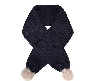 Baker by Ted Baker - Girls' navy weave knit pom pom scarf BNWT 3-6