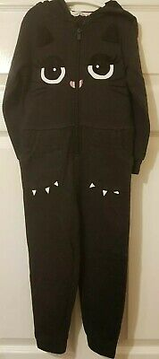 H&M Girls Aged 3-4 Years Black Cat Hooded Footless All In One (A340)