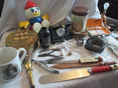 Vintage Mixed Job Lot Of Interesting Items  Biscuit Tin Vase Travel Clock Etc
