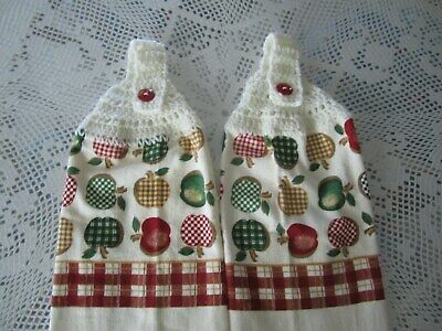 APPLES+100/% COTTON WHITE CROCHETED TOPS ***  2-HANGING KITCHEN TOWELS+NEW