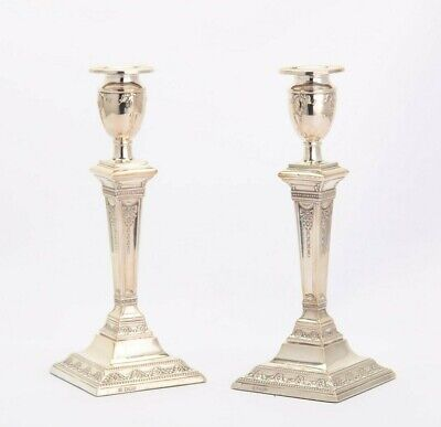 Victorian sterling silver candlesticks Sheffield 1898 neoclassical George III