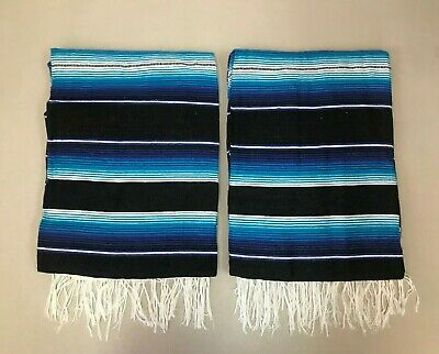 TWO PIECE SERAPE SET ,5' X 7',Mexican Blanket,HOT ROD, Covers, XXL , BLUE-BLACK