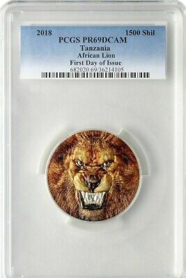 2018 Tanzania African Lion 2oz Silver Colorized Proof UHR Coin PCGS PR69DCAM FDO