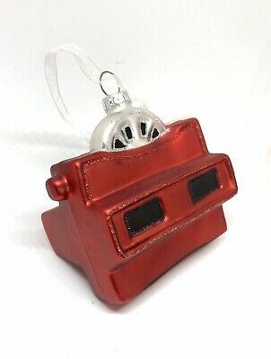 New Vintage Viewfinder  View Master Glass Christmas Tree Ornament Red Handmade