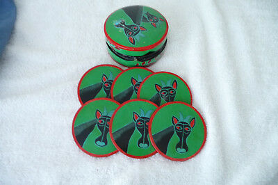 Vintage 60's Colourful Boxed Set Paper Mache Hand Painted Coasters Giraffes