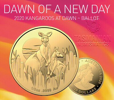KANGAROOS AT DAWN 1/5oz GOLD PROOF $25 COIN - BALLOT ONLY, LOW MINTAGE 1000