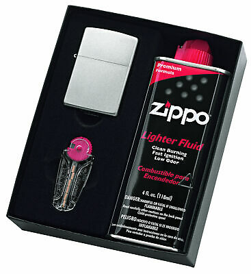 Zippo 205 Satin Chrome Lighter With 125Ml Fluid & Flints Gift Boxed - 90207Gp