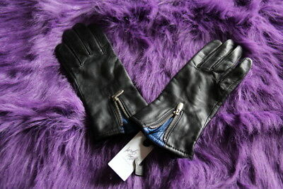 LORD & TAYLOR Black Kid Leather Gloves Zipper Detail ~ Size 7.5 ~ NWT Retail $70