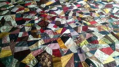 """Beautiful Vintage Crazy Quilt Silk Hand Made Signed 82""""x75"""""""