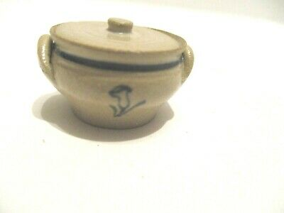 Mini Very Tiny Gray Hand Crafted Clay Pottery Crock Pot with Removable Lid  #11