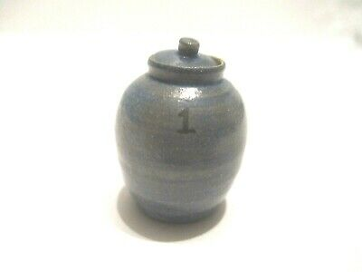 Miniature Blue Hand Crafted Clay Pottery Jar with Removable Lid  #14
