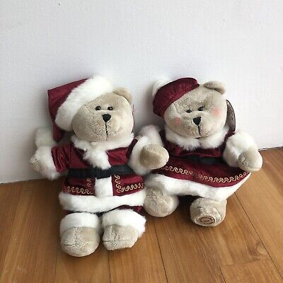 2015 STARBUCKS Christmas Holiday Bearista Bear Red Santa Boy & Girl Set No Card