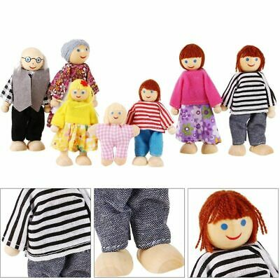 Wooden Furniture Dolls House Family Miniature 7 People Doll Toy For Kid Gift