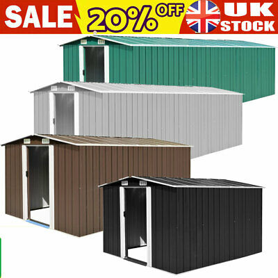 New Metal Garden Shed  Pent Roof Outdoor Storage With Free Foundation MUTI-SIZE