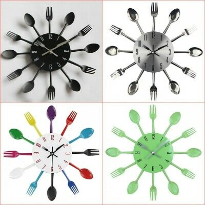 3D Modern Large Cutlery Wall Clock Fork & Spoon Kitchen Home Decoration Gifts UK
