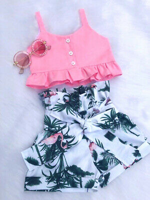 UK Cute Flamingo Toddler Baby Girls Vest Crop Tops Short Pants Outfits Clothes