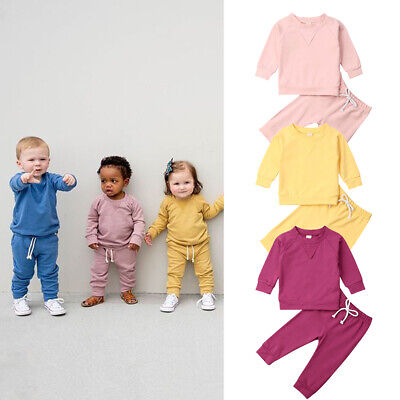 UK Toddler Kids Baby Boy Girl Casual Clothes T-shirt Tops+Long Pants Outfits