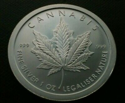 2 oz silver proof cannabis cures COA .999 pure fine BOX weeds pot silver shield!