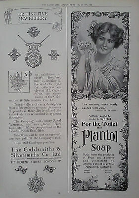 1909 ADVERT GOLDSMITHS & SILVERSMITHS Co Ltd-PLANTOL SOAP-COLGATES DENTAL CREAM