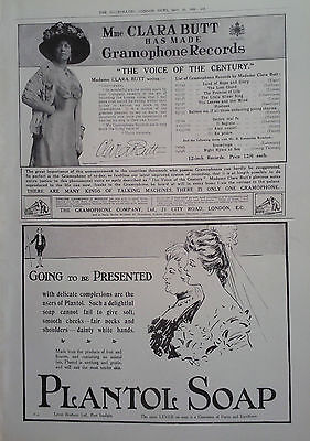 1909 ADVERT THE GRAMOPHONE Co-PLANTOL SOAP-THE GOLDSMITHS & SILVERSMITHS Co Ltd