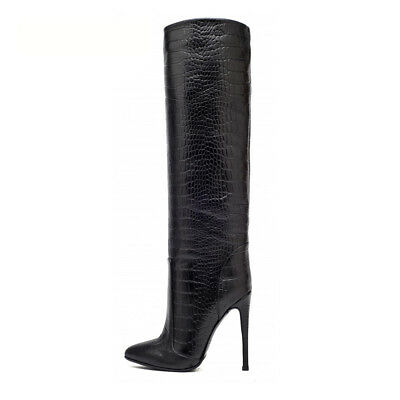 Womens Shoes Pointed Toe Knee High Boots Crocodile Pattern Black Winter Boots