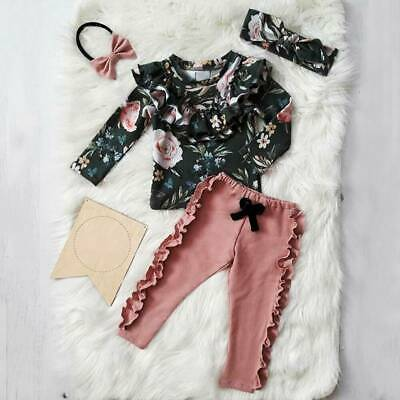 3PCS Toddler Kid Baby Girl Outfits Floral Ruffle Tops Pants Leggings Clothes Set