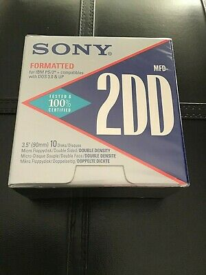 "10 Pack Of Sony IBM Formatted 3.5""  720KB 2DD Floppy Disks(As new, Never opened)"