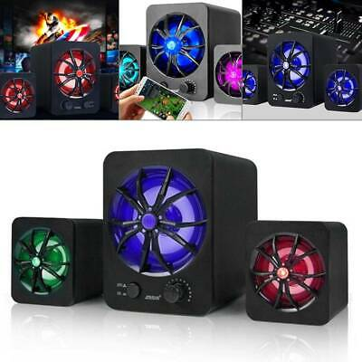 Subwoofer Computer Speakers USB Wired LED Bass Stereo Player For Laptop PC R4H2