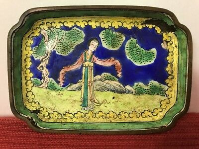 "Antique Hand painted Scenic Figural Chinese Canton Small Enamel Pin Tray 3""X4"""