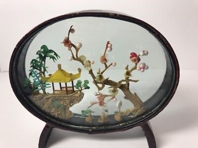 Vtg Chinese Asian Carved Cork Art Scene Sculpture Glass COLORFUL Diorama Oval
