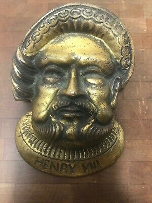 "VINTAGE BRASS Home Entry Door KNOCKER Henry 8th Mans Head 7.5""x5.5"" GT Britain"