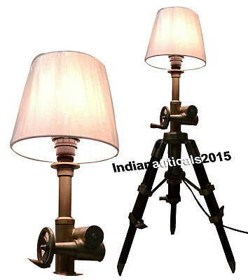 Nautical Collectible Marine Table Wooden Tripod Lamp Office Decor