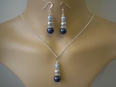 3sw Pearl Necklace & Earrings set for women gift for her Bespoke Choose Colours