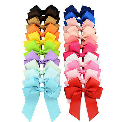 20X Grosgrain Ribbons Cheer Bow With Alligator Hair Clip Baby Girls Boutique EO