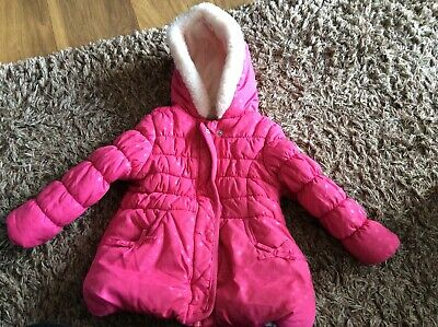 Girls pink warm winter coat with hood size 1 1/2 - 2 years