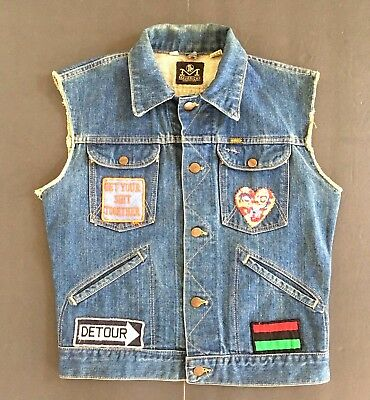 1970s Vintage 38 Maverick Blue Bell Black Power Patches Biker Denim Vest Unisex